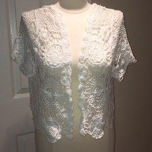 NWT JUST LOVE white crochet bolero.
